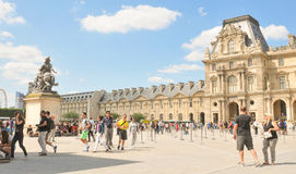 Tourists at Louvre Museum in Paris, France Royalty Free Stock Photos
