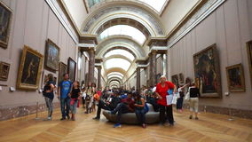 Tourists at the Louvre Museum. Video of tourists walking the hallway in the louvre museum in paris france on 9/11/14 stock video