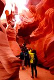 Tourists in Lower Antelope Canyon Stock Photo