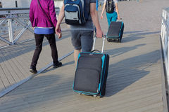 Tourists with luggage in Helsinki, Finland Royalty Free Stock Photo