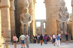 Tourists at Temple of Luxor - Egypt Royalty Free Stock Photos