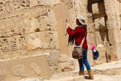 Tourists at Temple of Luxor - Egypt Stock Photo