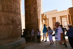 Tourists at Temple of Luxor - Egypt Stock Photos