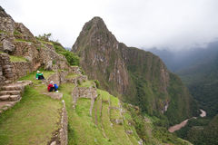 Tourists at Machu Picchu Stock Image