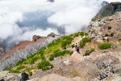 Tourists on Madeira go on a stony track highly in mountains, on Royalty Free Stock Images