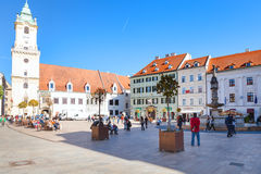Tourists at Main Square in Bratislava city Royalty Free Stock Images