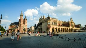 Tourists on the main square of Krakow stock footage