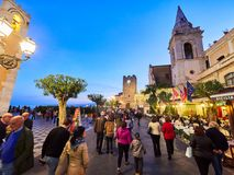 Tourists on the main street in Taormina, Sicily, Italy Stock Image