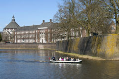 Tourists make boat trip along city wall Den Bosch. Netherlands, province North-Brabant, city 's-Hertogenbosch or Den Bosch in the conservation area, protected Stock Images