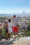 Tourists makes photo of beautiful panorama royalty free stock image