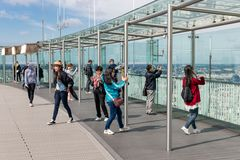 Tourists making pictures from Montparnasse tower in Paris, France Stock Photography