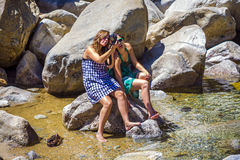 Tourists making selfies in the Yosemite National Park Royalty Free Stock Image