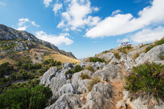 Tourists at Mallorca mountain Spain. Tourists at Mallorca mountain, Spain Royalty Free Stock Photography