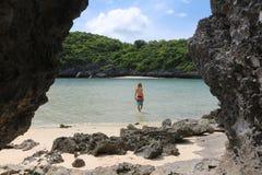Tourists man enjoy on the beach and sea at limestone island Royalty Free Stock Photo