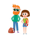 Tourists, man in sunglasses and woman with backpack, travelling together Stock Photography