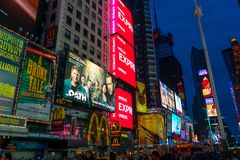 Tourists and many Advertising boards in Times Square April,2018 Royalty Free Stock Photography