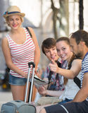 Tourists with map exploring the city destination Royalty Free Stock Image