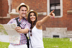 Tourists with map Royalty Free Stock Photography