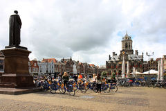 Tourists at Market Square of Delft, Netherlands Stock Photo