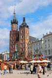 Tourists at the Market Square in Krakow Royalty Free Stock Photography
