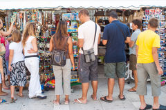 Tourists on the market in Zadar, Croatia Stock Photo