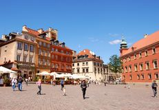 Tourists at the Marlet Square in Warsaw Stock Photo