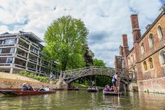 Tourists at the Mathematical Bridge. Cambridge, England, 21st of May 2017. UK Stock Photography