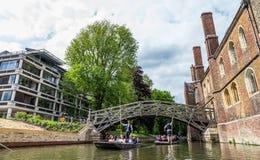 Tourists at the Mathematical Bridge. Cambridge, England, 21st of May 2017. UK Royalty Free Stock Photo