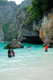 Tourists at Maya Bay Thailand Stock Photo