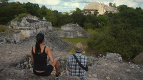 Tourists at the Mayan Ruins of Ek Balam Stock Photo