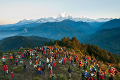Tourists meet sunrise stock photo
