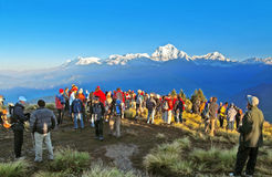 Tourists meet the sunrise at top of Poon Hill, Nepal Stock Images