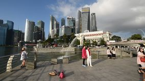 Tourists at Merlion Park stock video footage