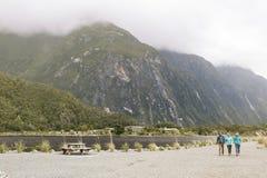 Tourists at Milford Sound passenger terminal pier Royalty Free Stock Photos