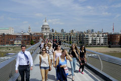 Tourists on the millennium bridge in london Royalty Free Stock Images