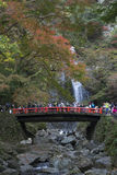 Tourists at Minoo waterfall in Osaka, Japan. Royalty Free Stock Images
