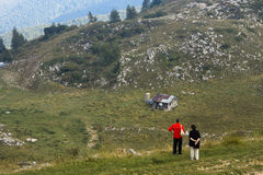 Tourists on Monte Baldo Italy Royalty Free Stock Images