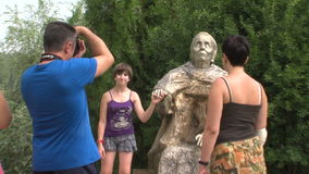Tourists at the monument to Vanga in Rupite, Bulgaria. Temple of Saint Petka built Vanga, Bulgarias tourist attractions, a place of pilgrimage for fans stock video