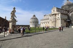 Tourists at the monuments of Pisa, Italy Stock Images
