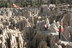 Tourists in Moon Valley in La Paz, Bolivia Royalty Free Stock Photo