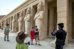 Tourists at the Mortuary Temple of Hatshepsut at Deir al-Bahri near Luxor in central Egypt. Royalty Free Stock Images
