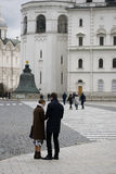 Tourists in Moscow Kremlin. Color photo Royalty Free Stock Photography