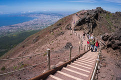 Tourists on Mount Vesuvius. Stock Image