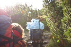 Tourists in the mountains with backpacks. Young tourist walking in group together on beautiful natural road surrounded in green meadow Royalty Free Stock Photos