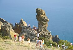 Tourists in the mountains of the Crimea Stock Image