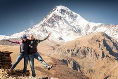 Tourists, mountains, funny Royalty Free Stock Photography