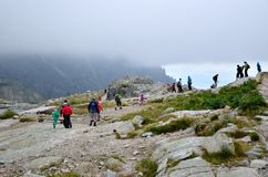 Tourists in mountains. Royalty Free Stock Photography
