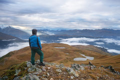 Tourists in the mountains Stock Photography
