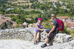 Tourists in Moustiers-Ste-Marie Stock Photos