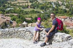 Tourists in Moustiers-Ste-Marie. Alpes de Haute Provence Stock Photos
